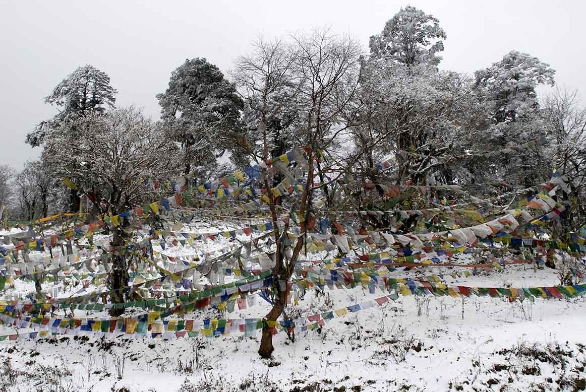 Snowy mountain in Bhutan